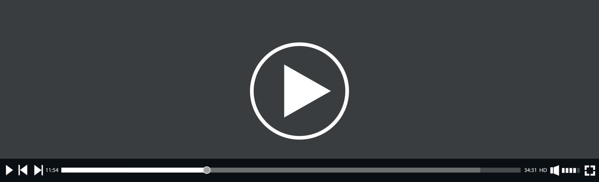 gränssnittsmall för video och mediaspelare - vektor