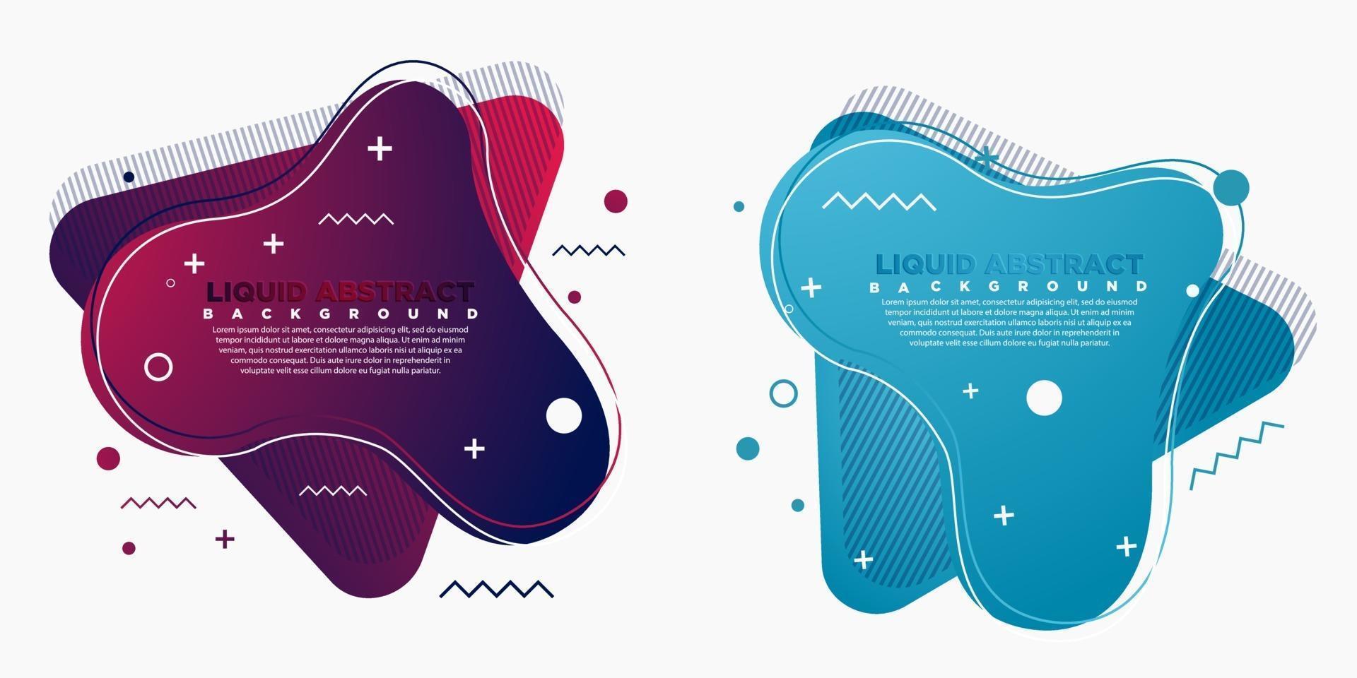 Satz abstrakter moderner grafischer Elemente. Formen und Linien und dynamische Farbabstufungen. abstraktes Fahnenbanner mit fließenden fließenden Formen. Vorlagen für Logo-Design oder Präsentationen. vektor