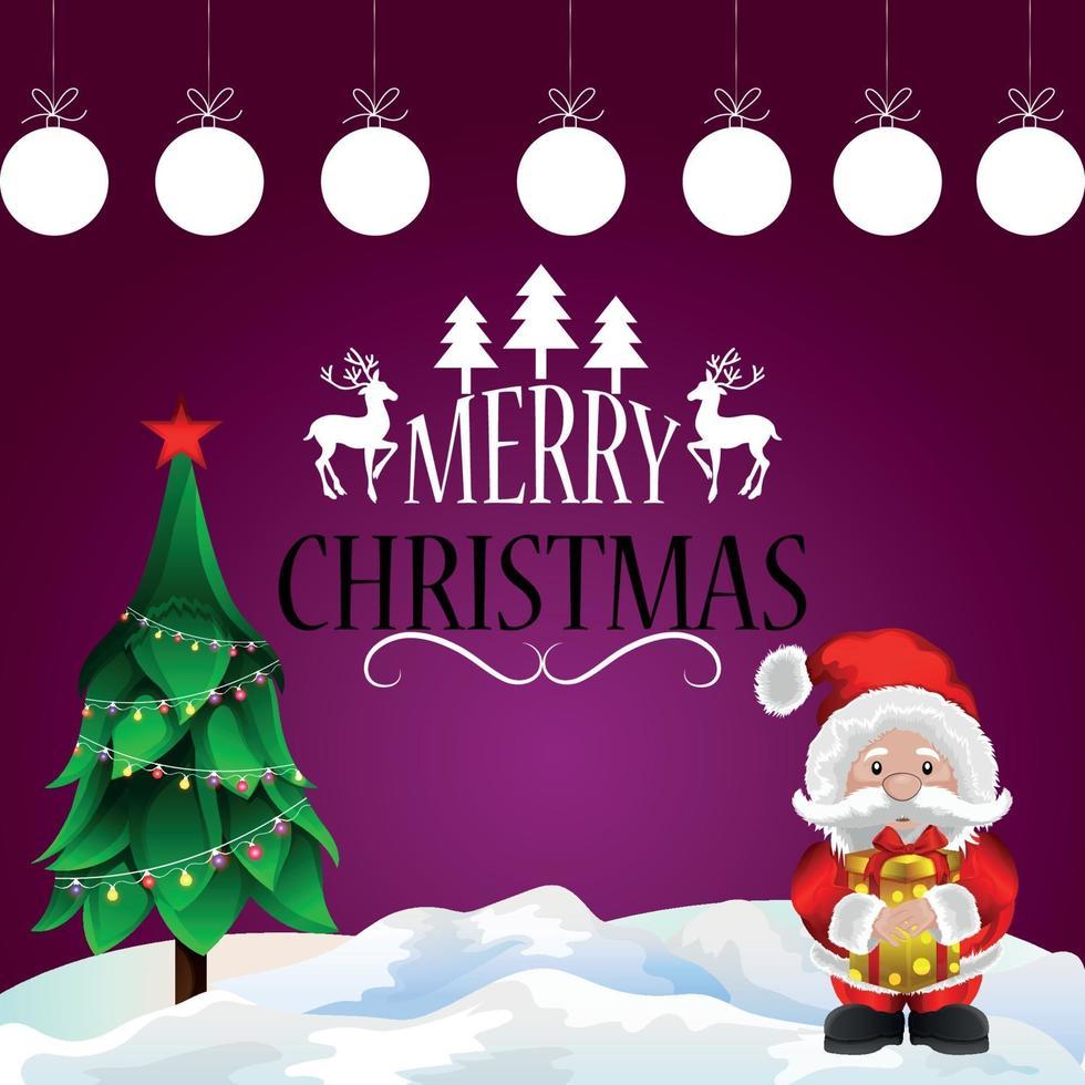 vektorillustration av inbjudningskort för god jul med julgran och jultomten vektor