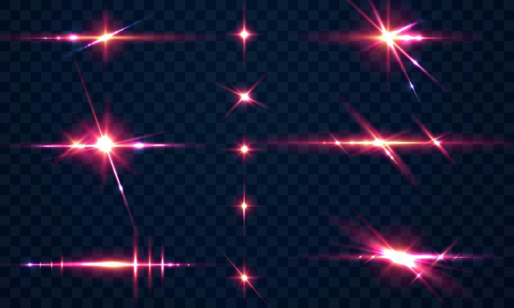 Set Funken glitzern Spezial Lichteffekt glüht vektor