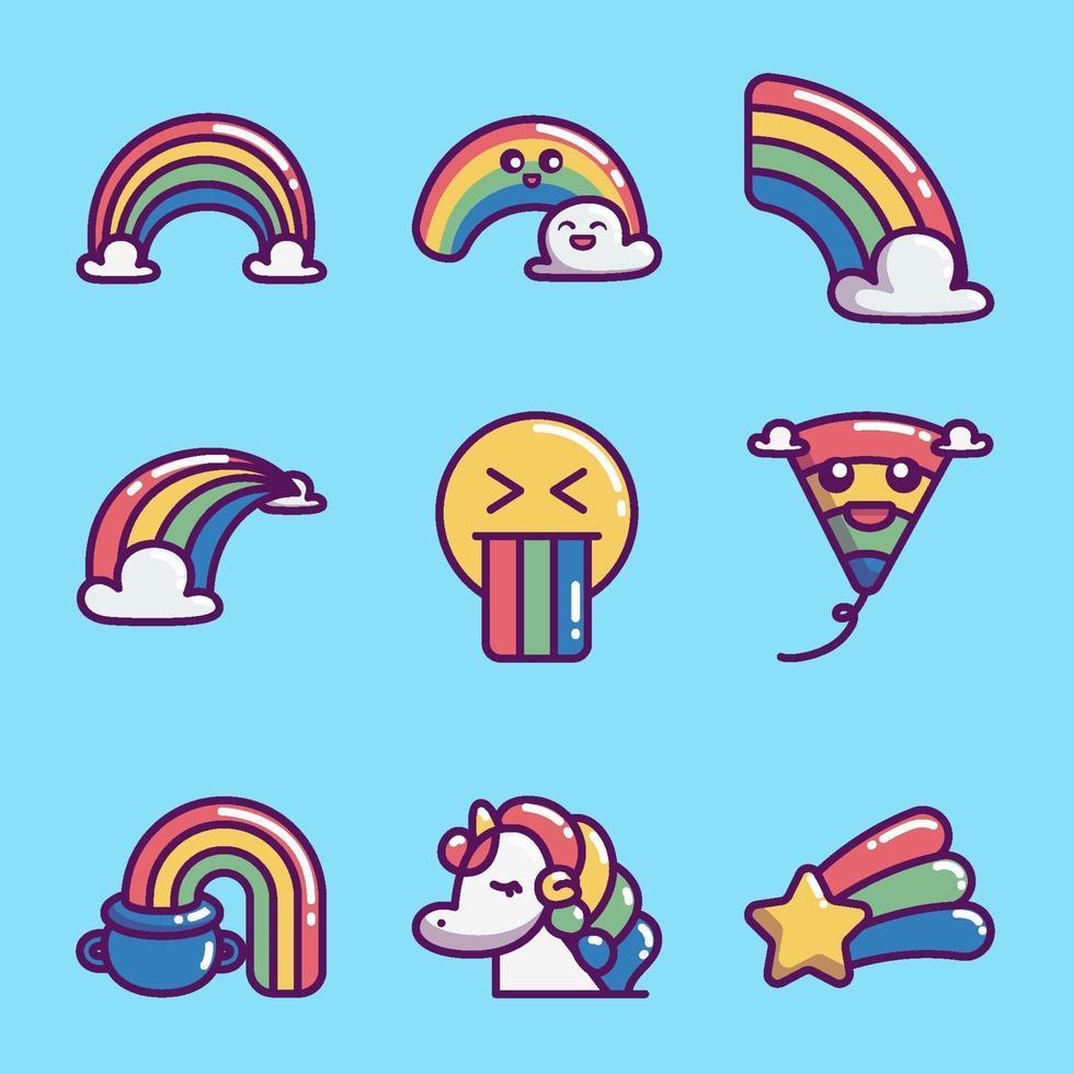 regnbåge ikon insamling vektor