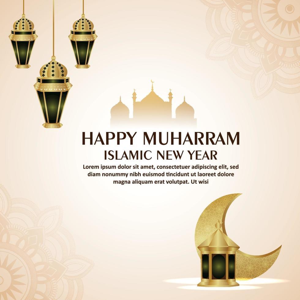 lyckligt muharram islamiskt nytt år med arabiskt mönster mån och lykta på vit bakgrund vektor