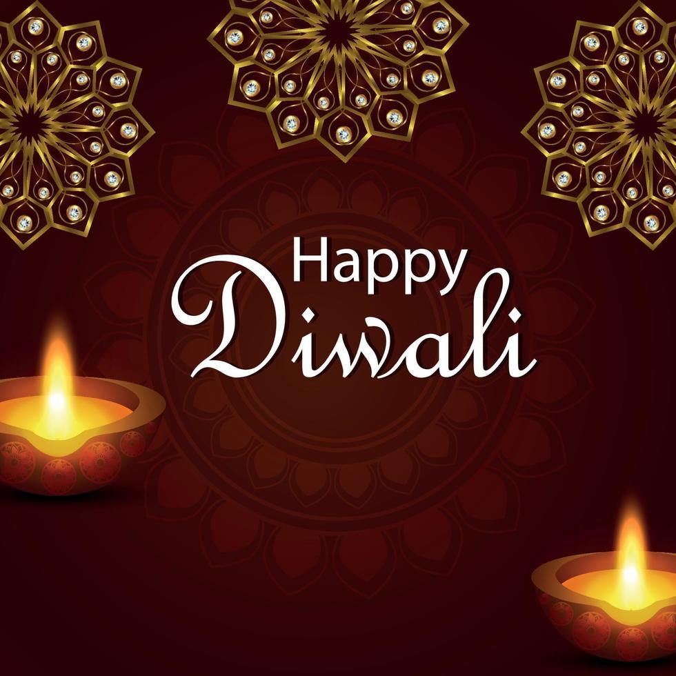 kreativ vektorillustration av glad diwali festival i Indien med diwali diya vektor