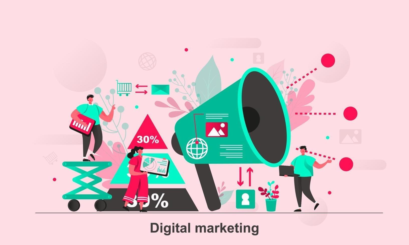 digital marknadsföring webb konceptdesign i platt stil vektorillustration vektor