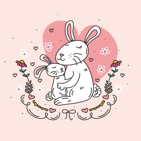 Kanin mamma och baby vektor
