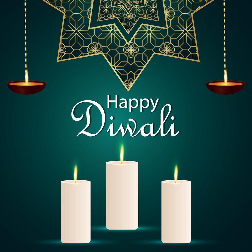 glad diwali indisk festival inbjudningskort med ljus på mönster bakgrund vektor