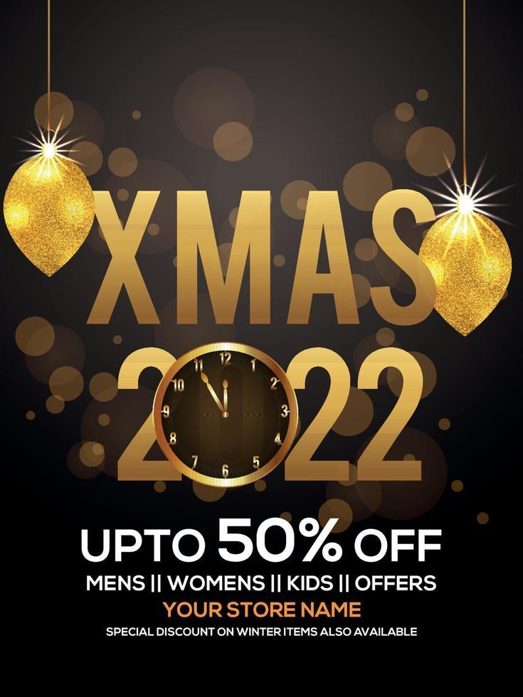 inbjudan för god jul bakgrund med gyllene text och gyllene festbollar vektor