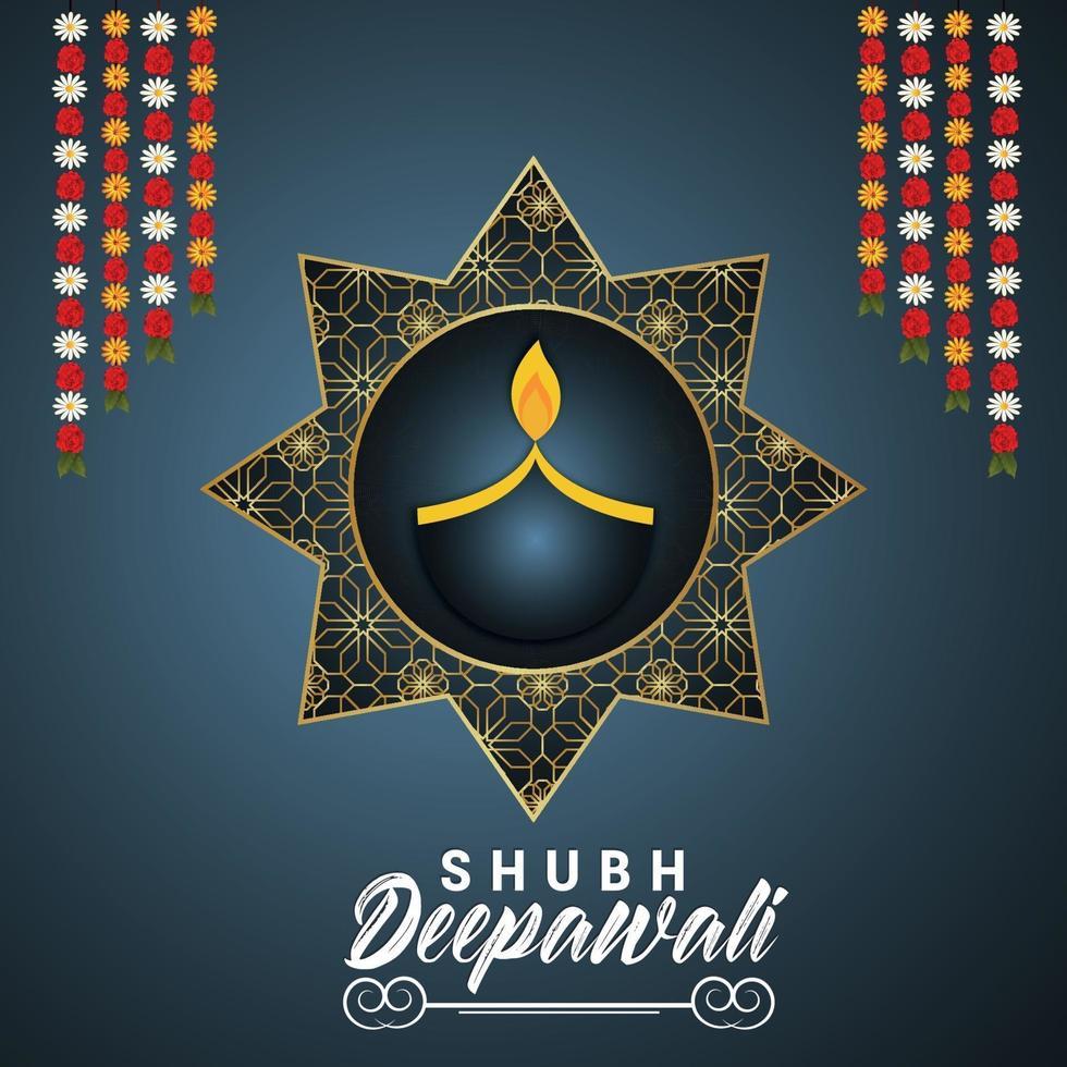 vektor illustration av lycklig diwali inbjudan designkoncept på kreativ bakgrund