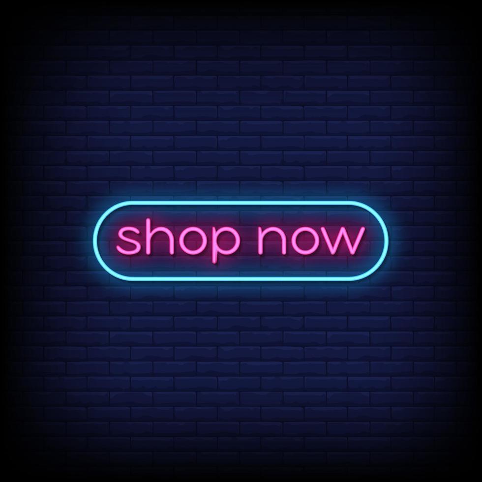 shoppa nu neonskyltar stil textvektor vektor