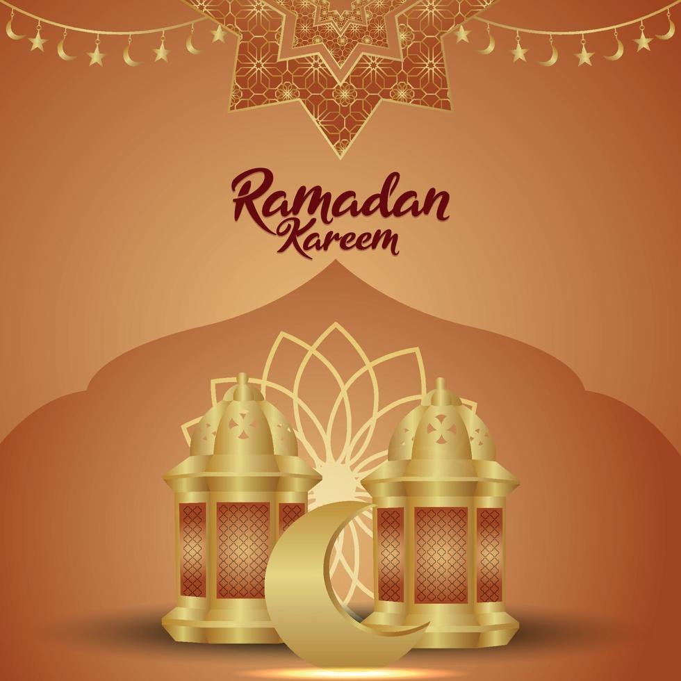 islamisk festival ramadan kareem vektorillustration med kreativ arabisk lykta vektor