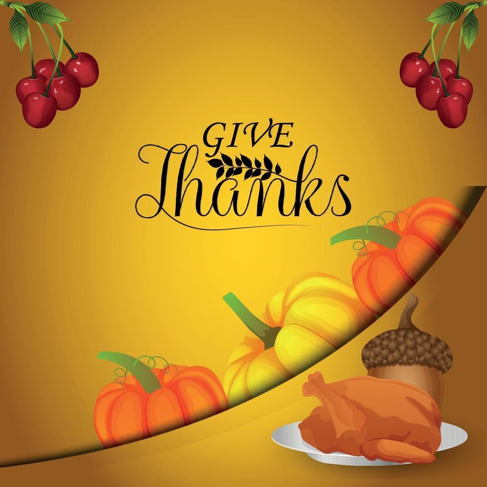 lycklig tacksägelsedag vektorillustration vektor pumpkinon kreativ bakgrund