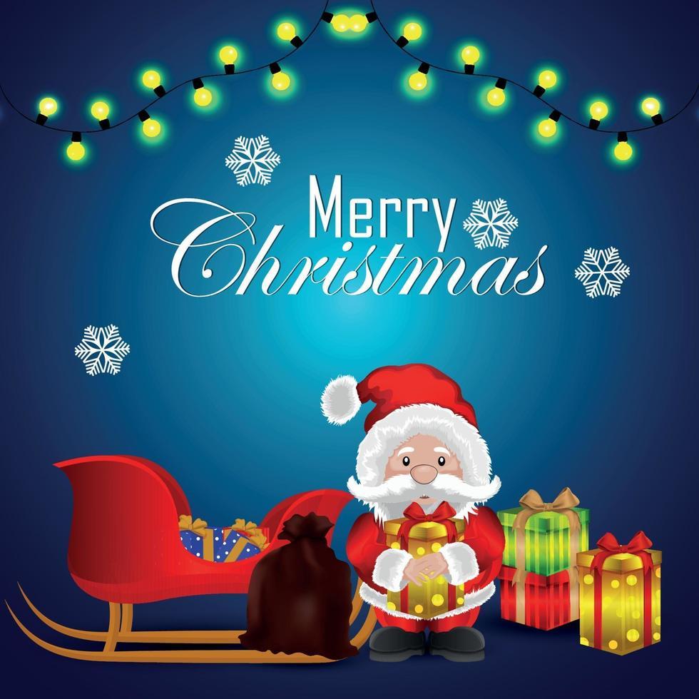 inbjudningskort för god jul med vektorillustration av gåvor på kreativ bakgrund vektor