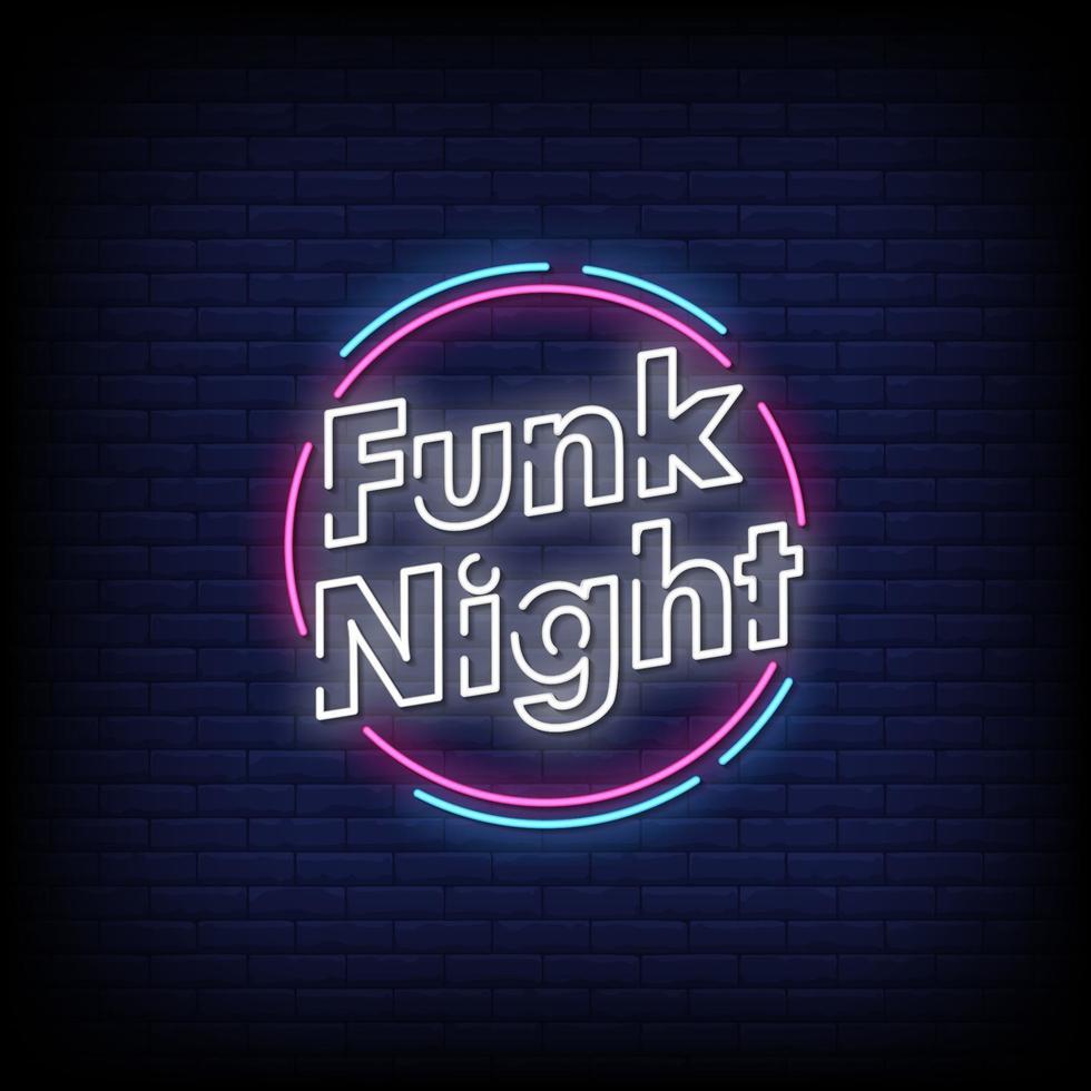 funk natt neonskyltar stil text vektor
