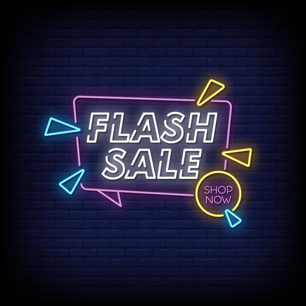 Flash-Verkauf Leuchtreklamen Stil Text Vektor