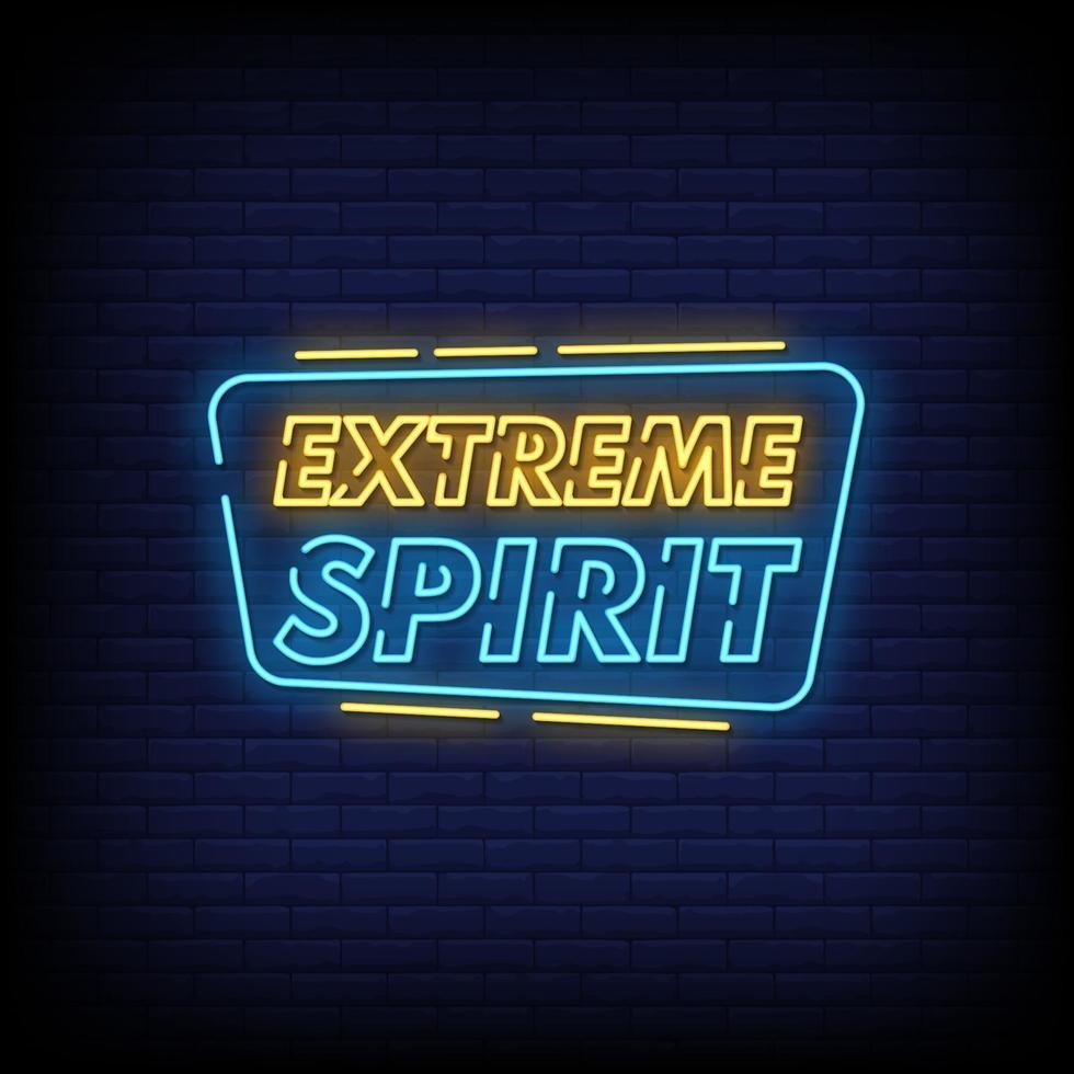 extreme spirit neonskyltar stil textvektor vektor