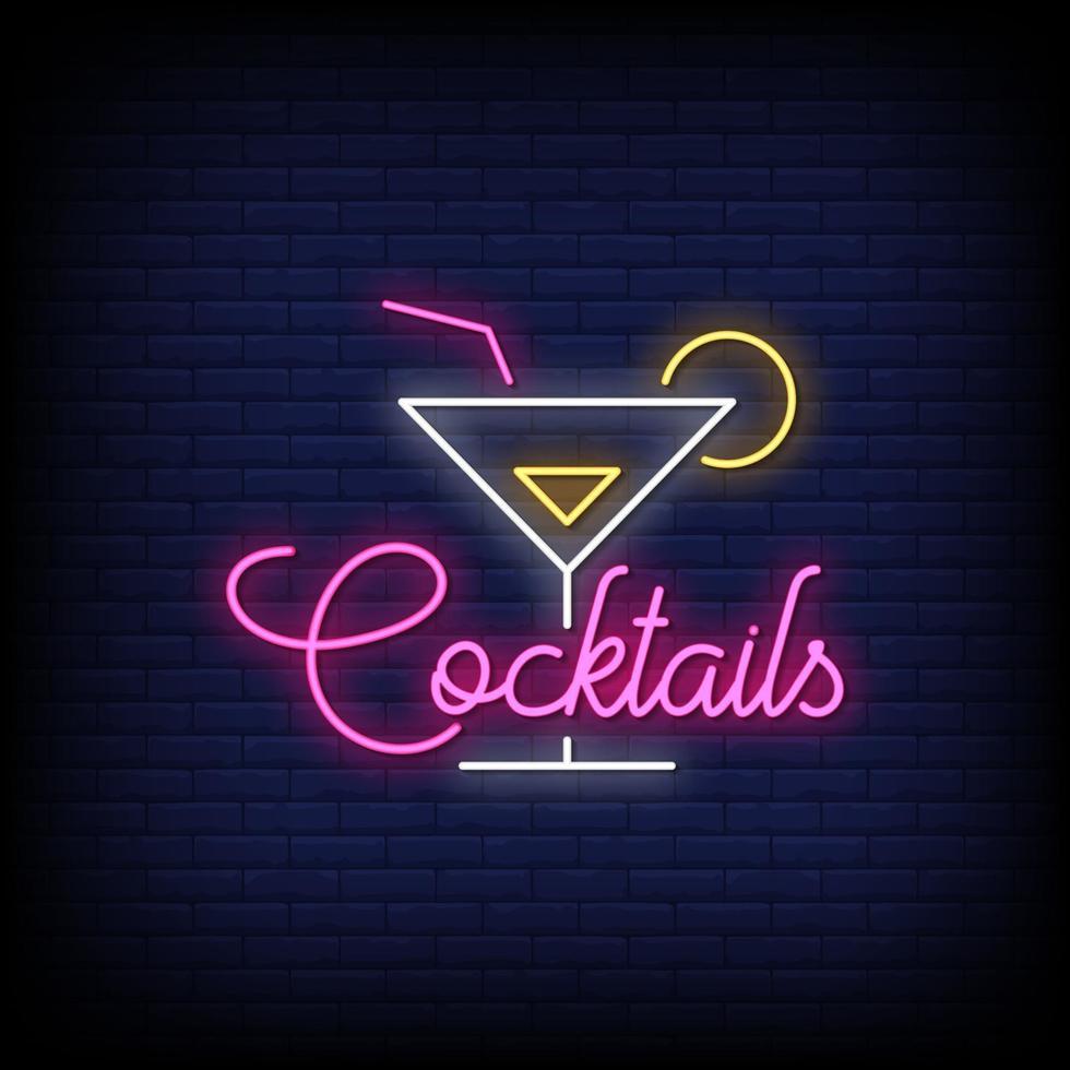 cocktail neon skyltar stil text vektor