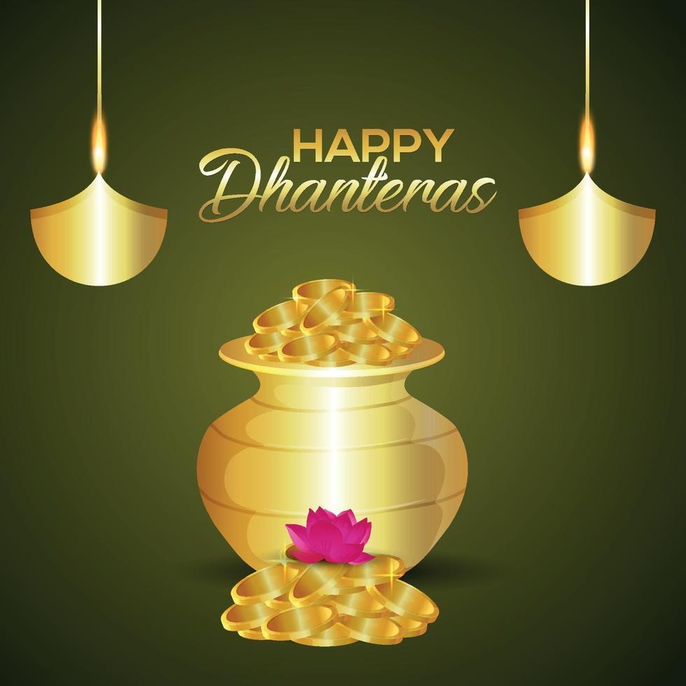 Shubh Dhanteras Einladungsgrußkarte mit Vektorillustration des Goldmünztopfes vektor