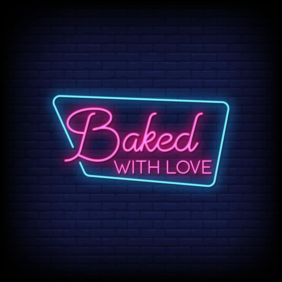 bakad med kärlek neonskyltar stil text vektor