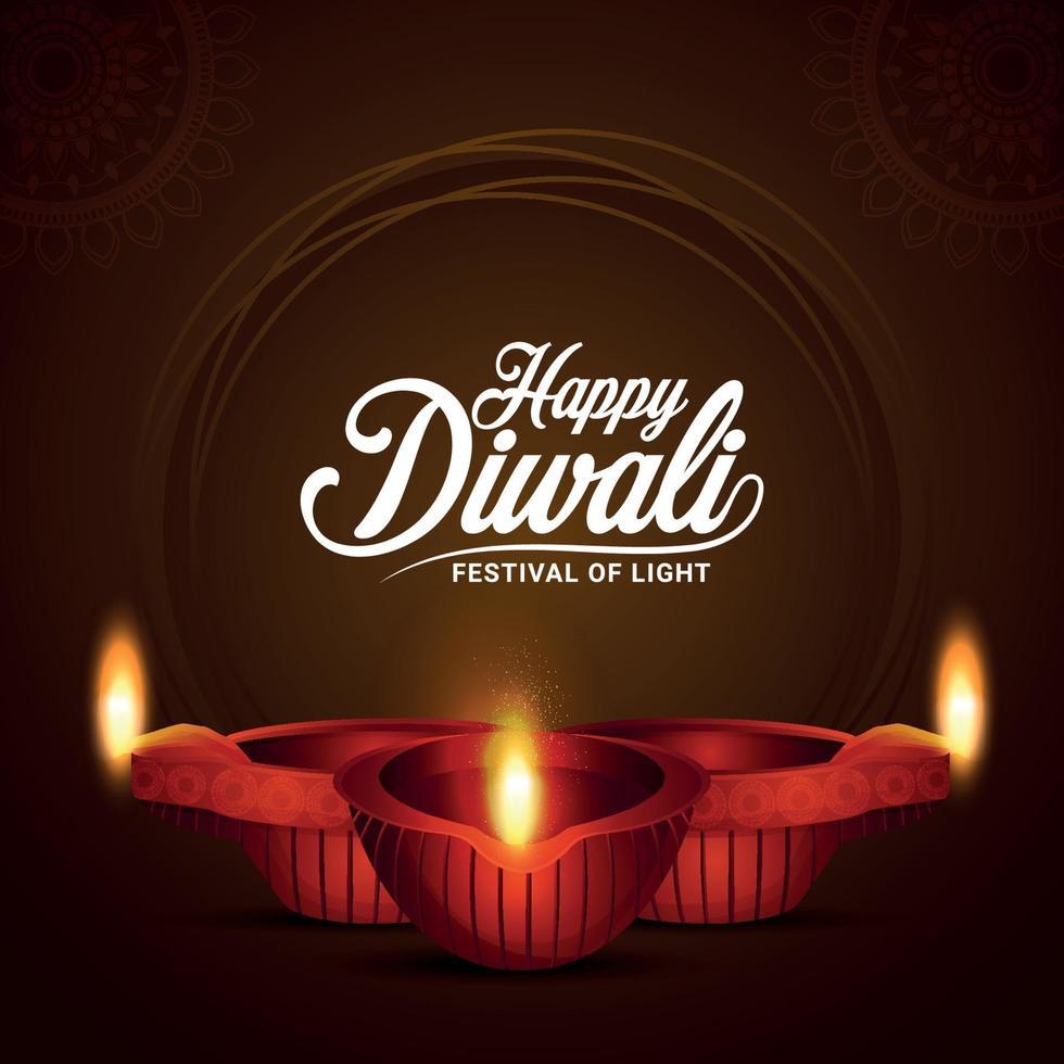 glückliches diwali indisches Festival des Lichts mit leuchtendem diwali diya auf kreativem Hintergrund vektor
