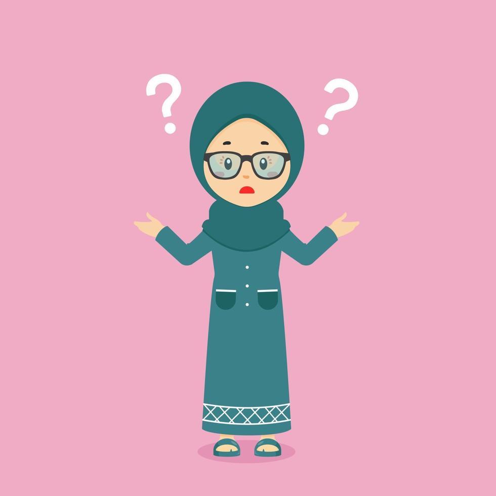 förvirrad muslim med frågetecken vektor