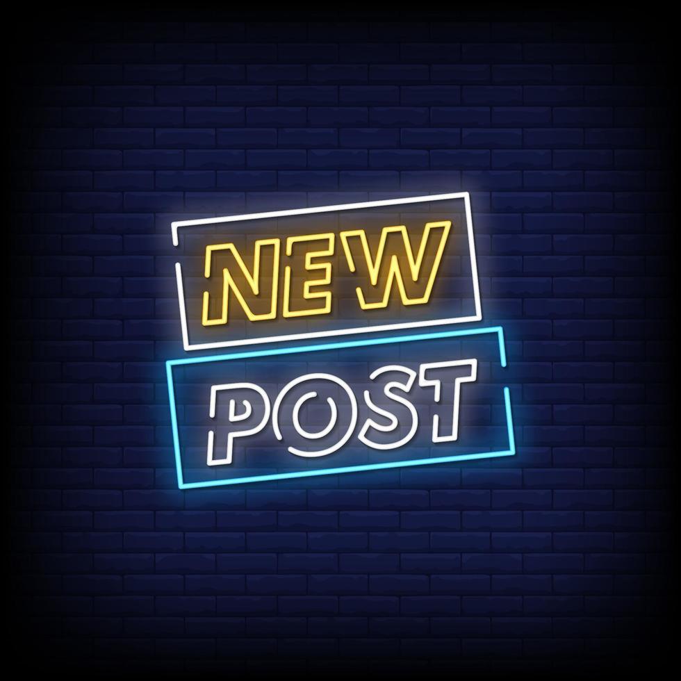 ny post neonskyltar stil text vektor