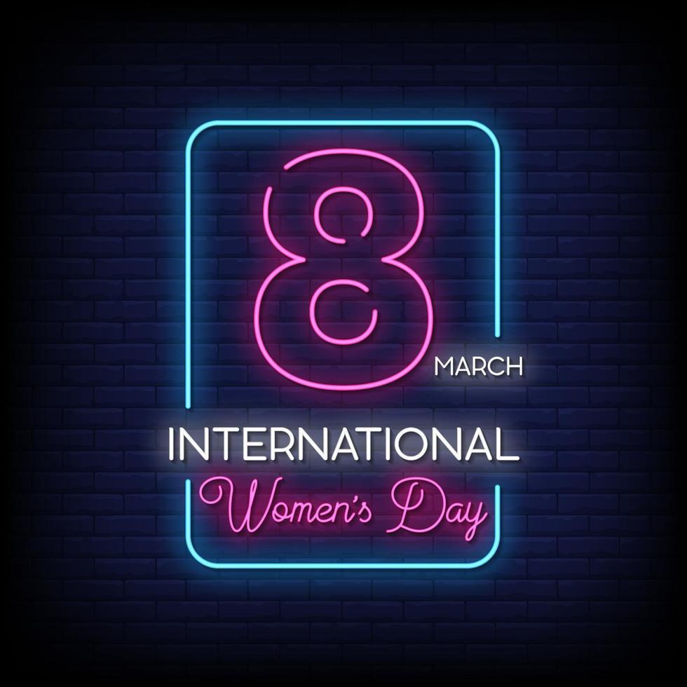 internationella kvinnodagen neonskyltar stil text vektor