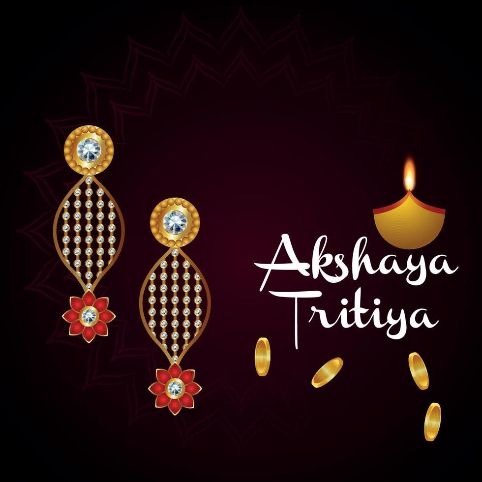 akshaya tritiya indiska smycken festival försäljning kampanj med guld örhängen vektor