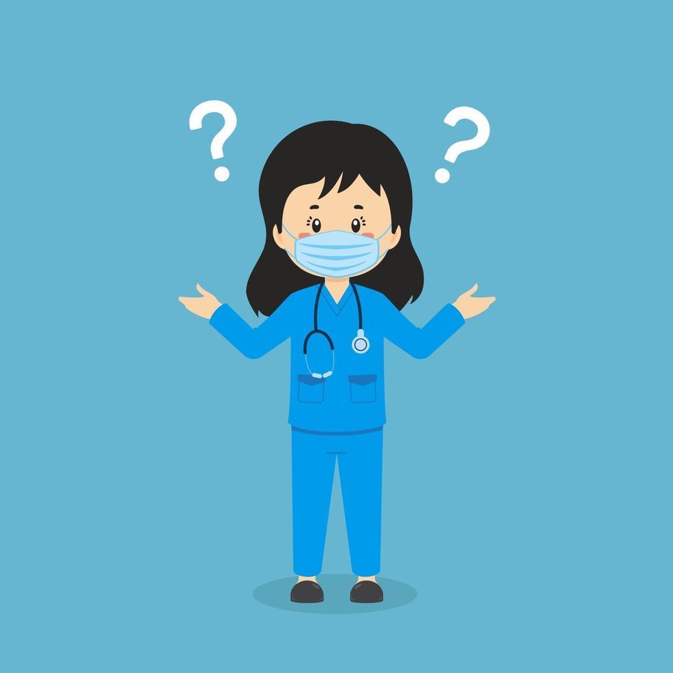 förvirrad sjuksköterska med frågetecken vektor