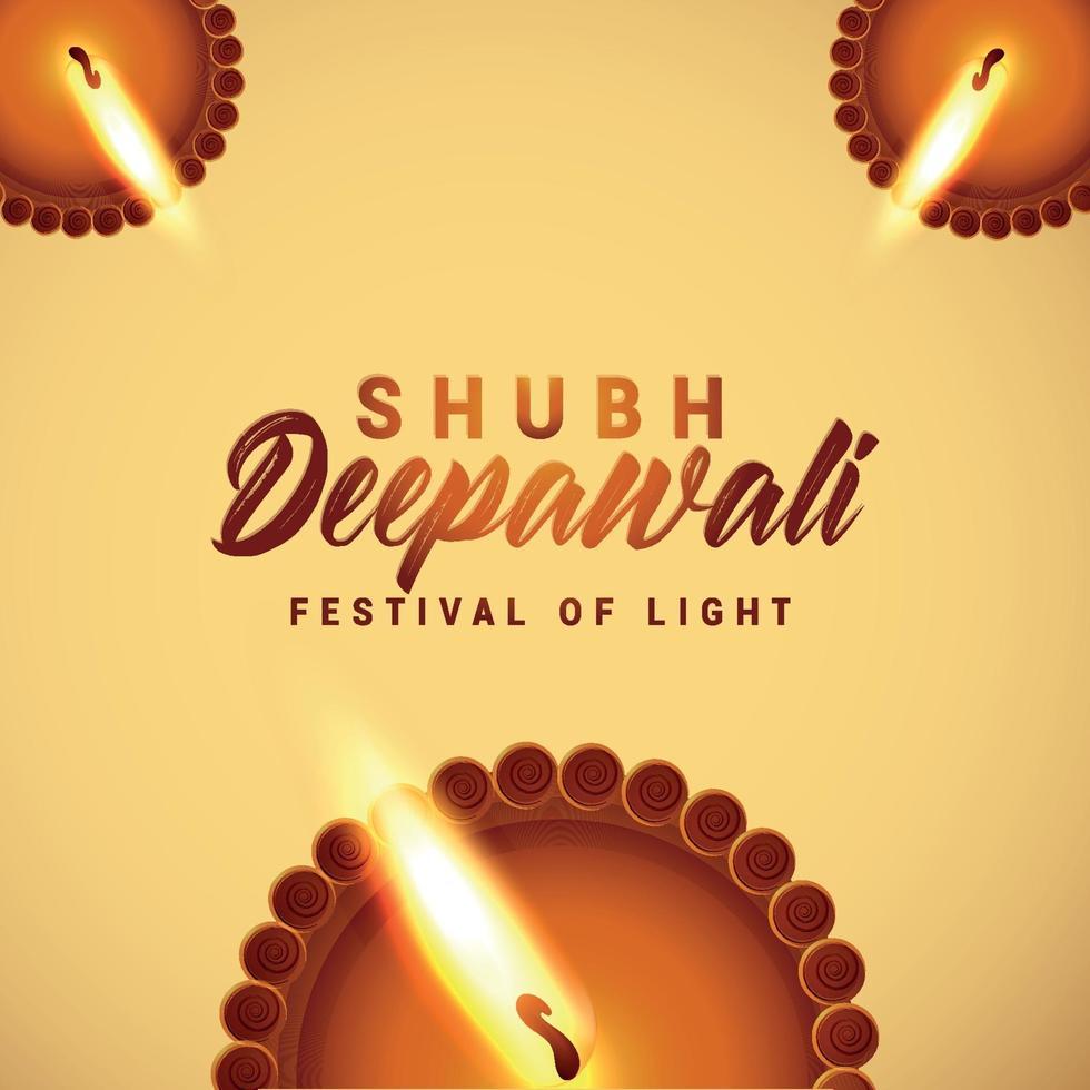 festivalen för ljus shubh deepawali firande gratulationskort vektor