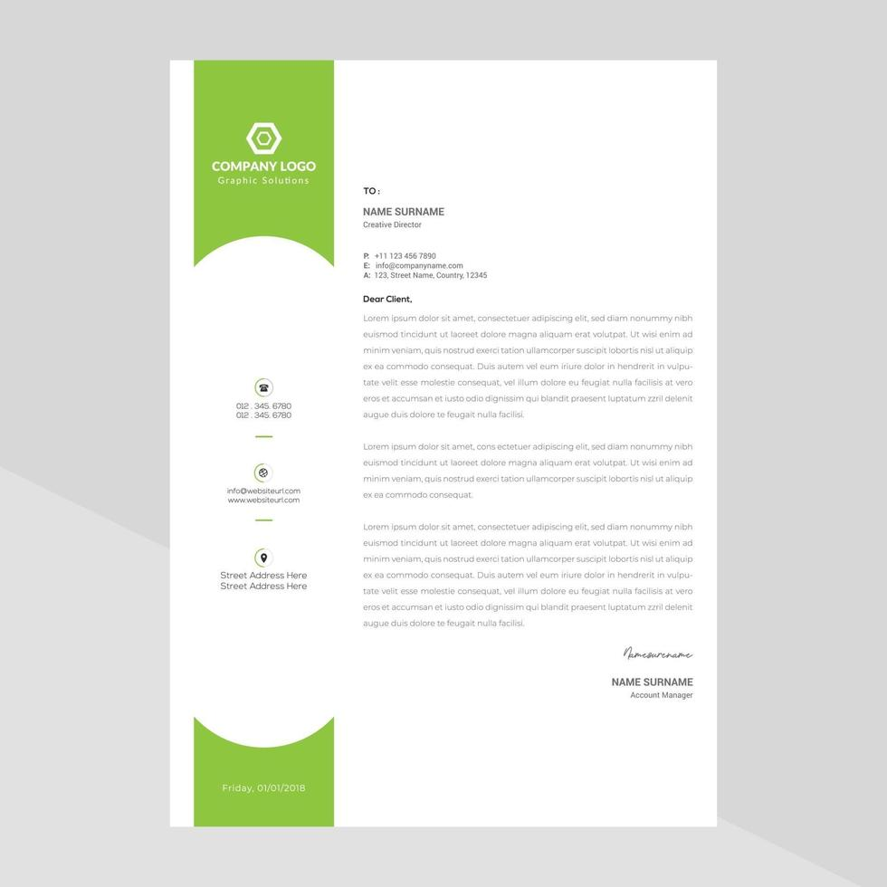 brevhuvudmall i platt stil gratis vektor