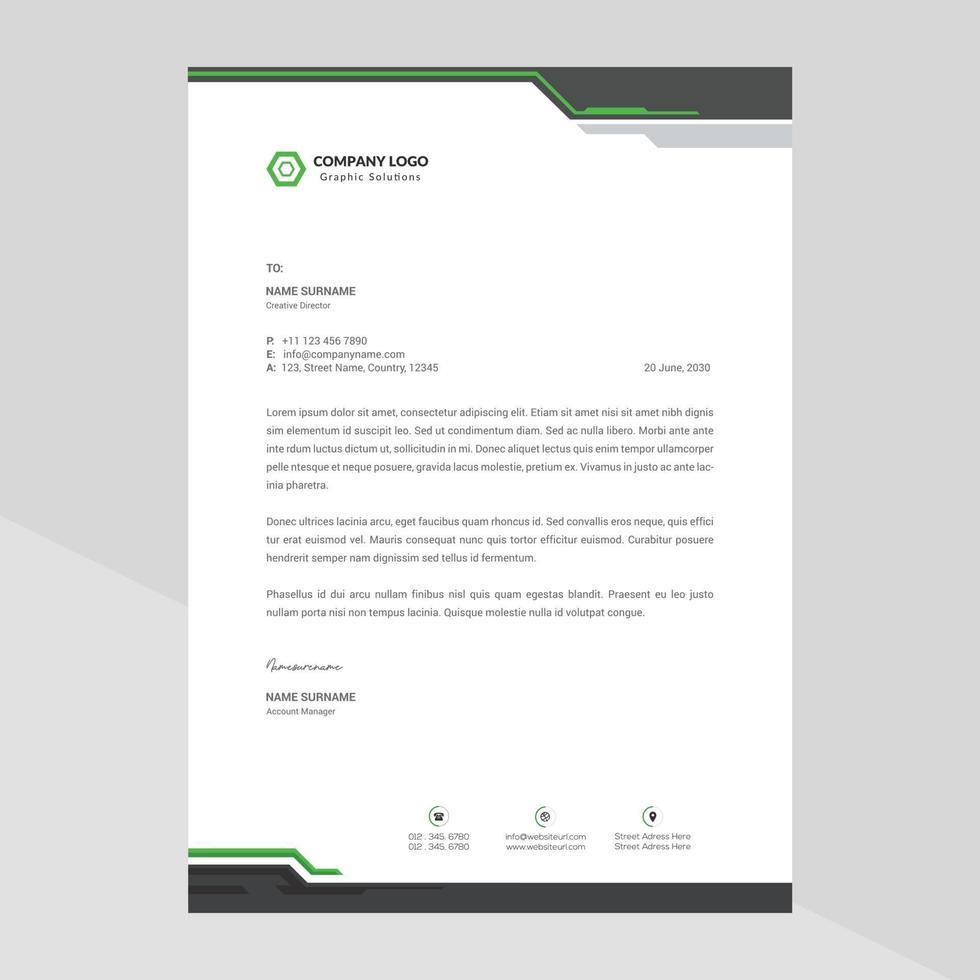 företagsaffär brevpapper elegant och minimalistisk stil brevpapper mall design full vektor