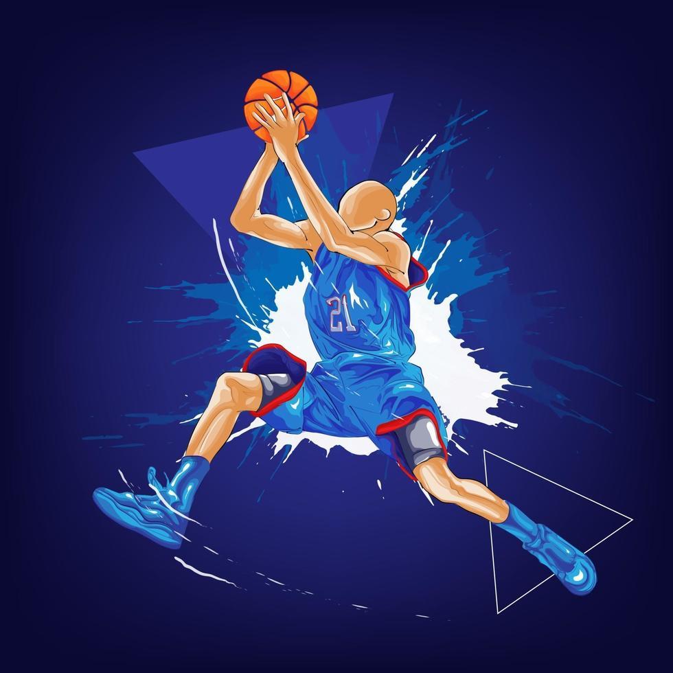 Basketball Slam Dunk Splatter Gemälde vektor