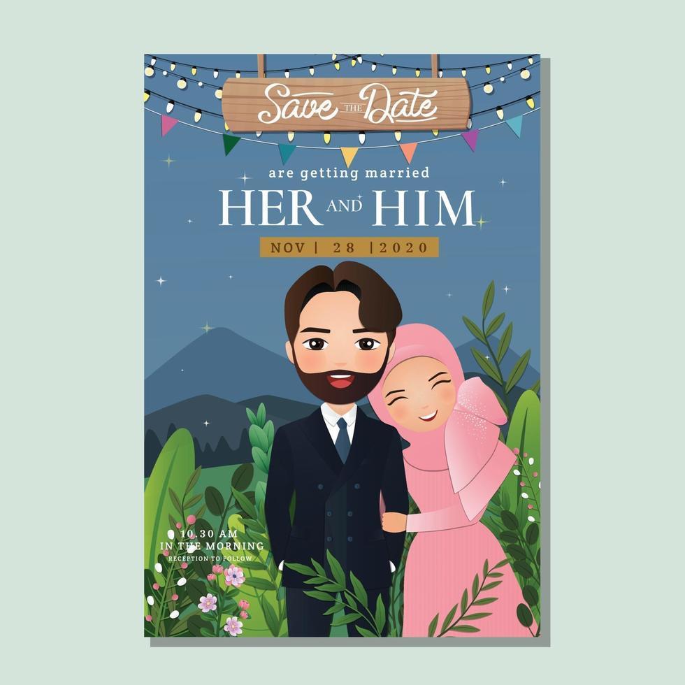 Hochzeitseinladungskarte das niedliche muslimische Paar der Braut und des Bräutigams in der Liebe. Blumenhintergrund für Ereignisfeier vektor