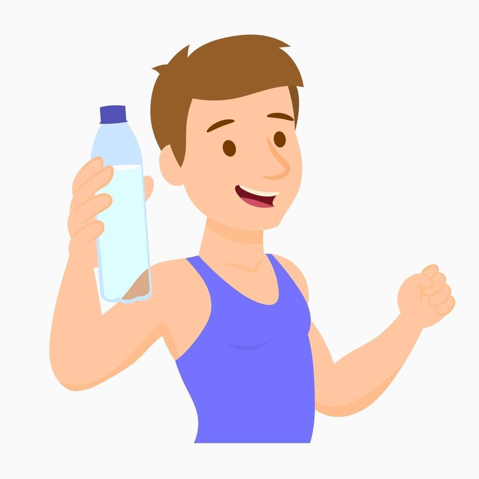 atletisk man med flaska vatten vektor