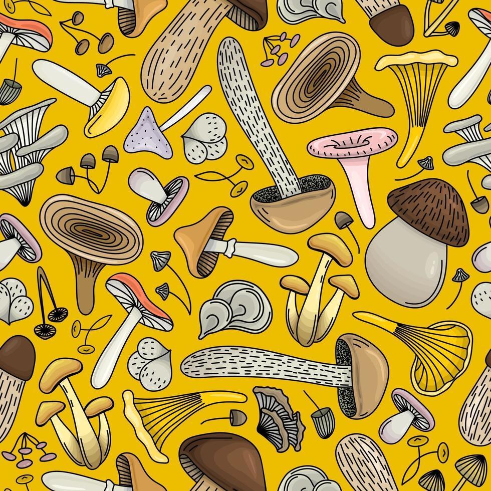 gul bakgrund med färgglada svampar vektor
