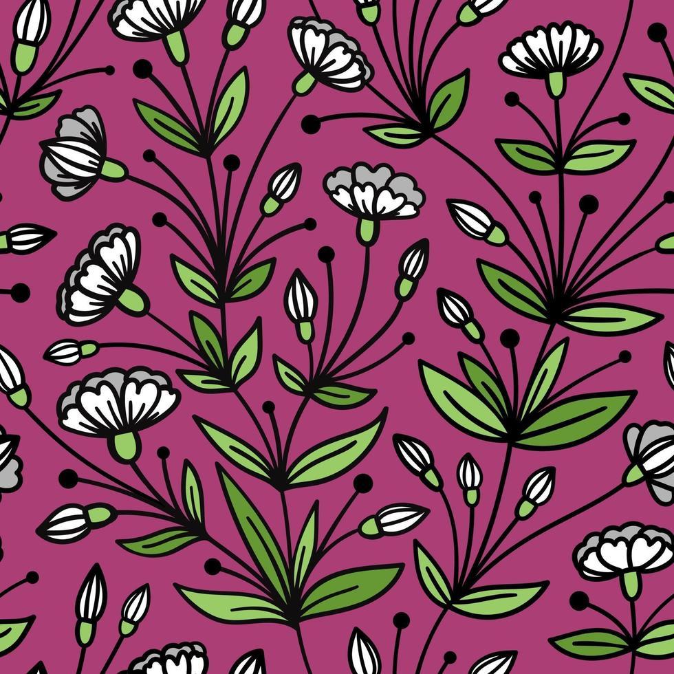 sömlös lila mönster med efterföljande vita blommor vektor