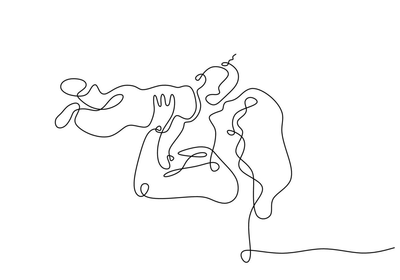 kontinuierliche einzeilige Zeichnung von Mutter und Kind vektor