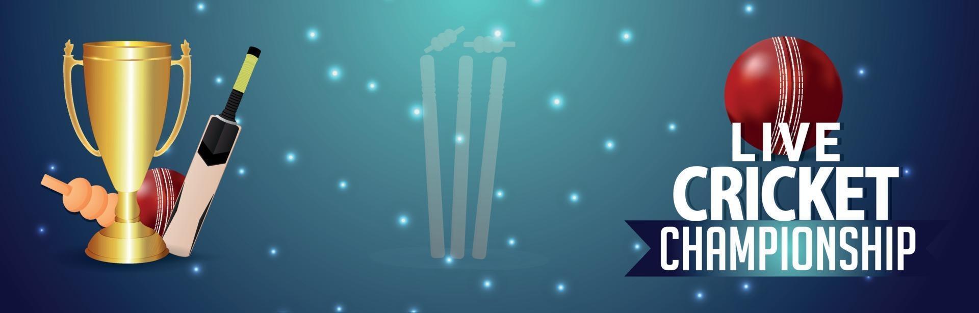 Cricket-Turnier Stadion Hintergrund mit Cricket-Ausrüstung vektor