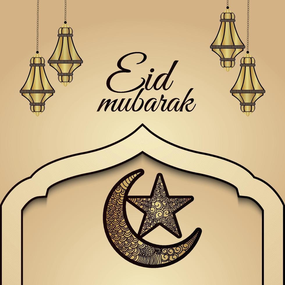 eid mubarak islamisk festival inbjudningskort med gyllene lykta och handdragen måne vektor