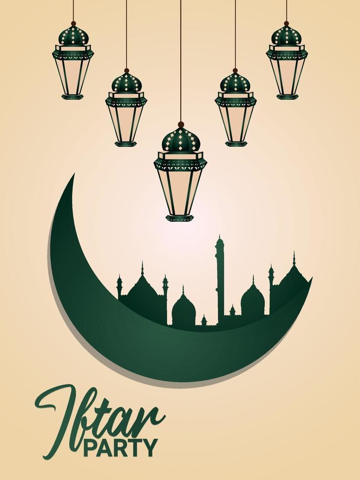 platt designmall för iftar party flyer med kreativa platta ornament på kreativ bakgrund vektor