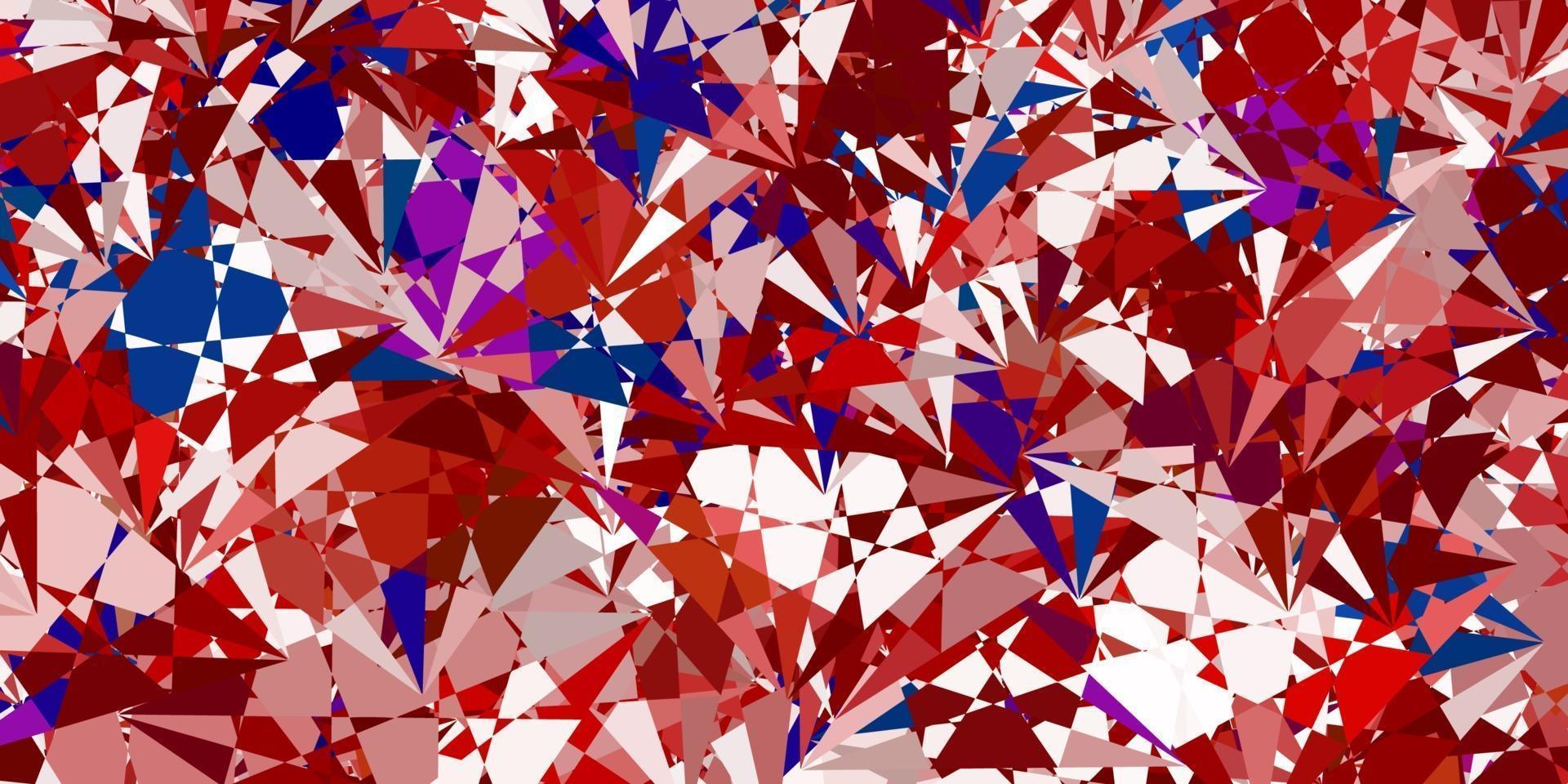 ljusblå, röd vektorbakgrund med trianglar. vektor