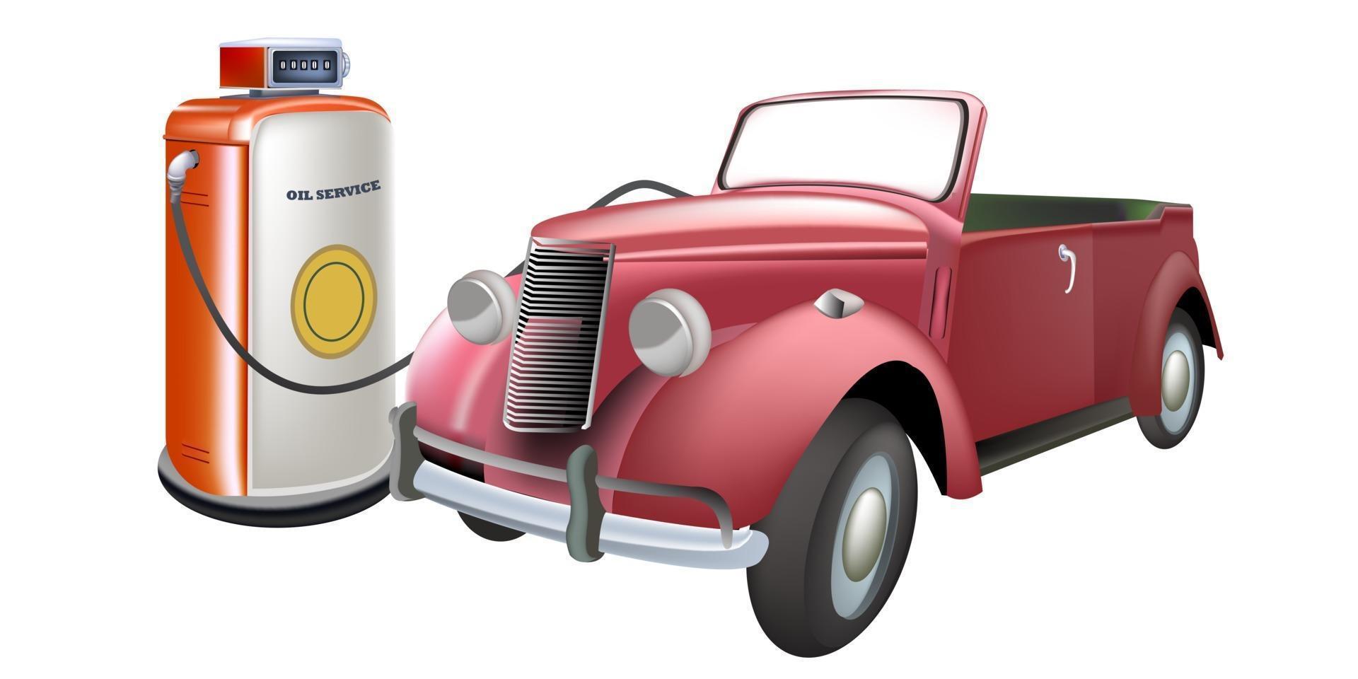 vintage bil tankning vektor