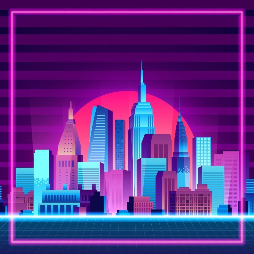 storstad urban silhuett skyskrapa byggnad solnedgång neon blå rosa lila färg retro 80-talet vintage stil med tonad bakgrund vektor