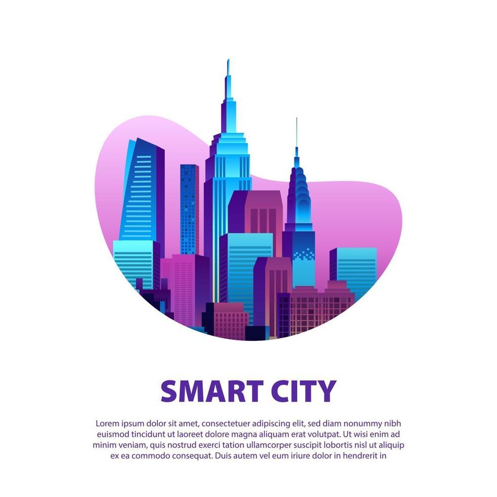 begreppet smart stad illustration med modern pop färgglada storstad stadsbyggnad skyskrapa med lutning färg och vit bakgrund vektor