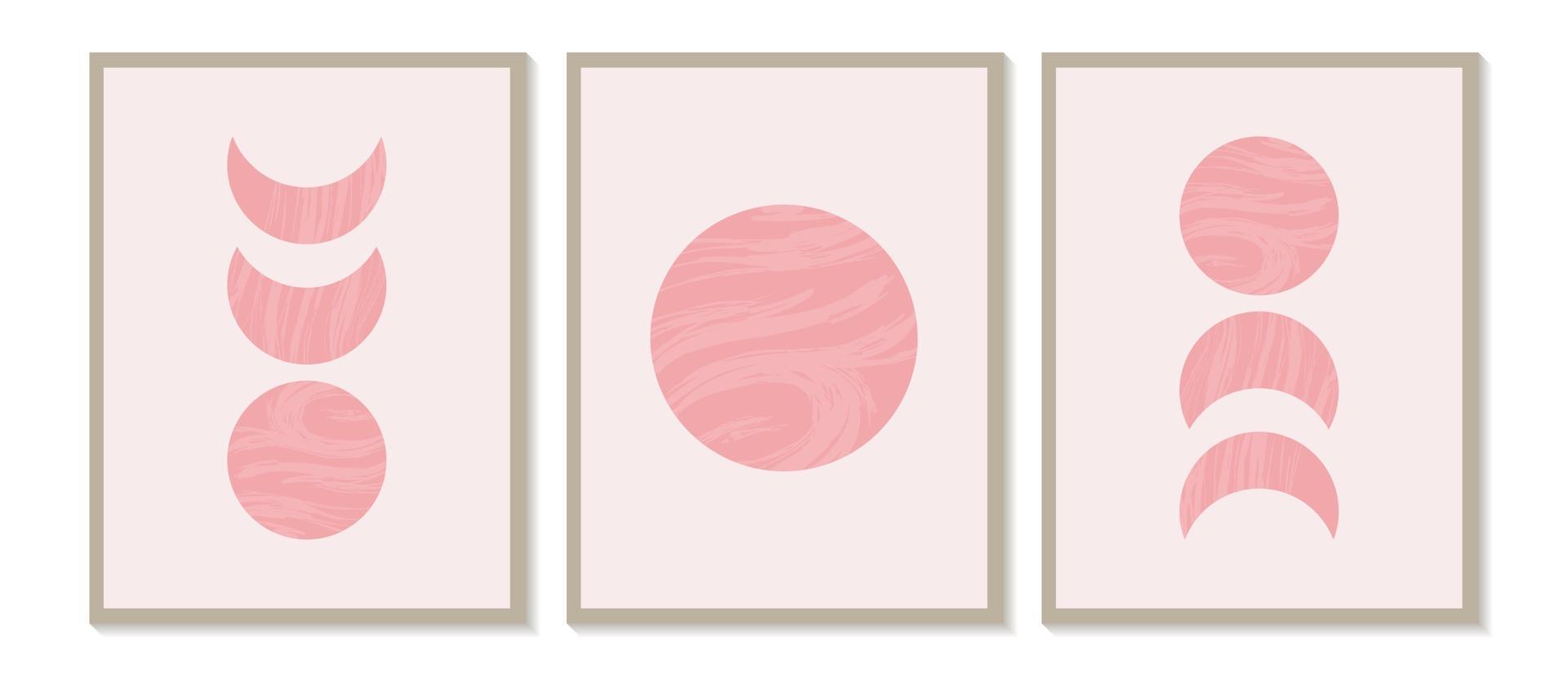 mitten av århundradet modernt minimalistiskt konsttryck med organisk naturlig form. abstrakt samtida estetisk bakgrund med geometriska månfaser. boho väggdekor. vektor