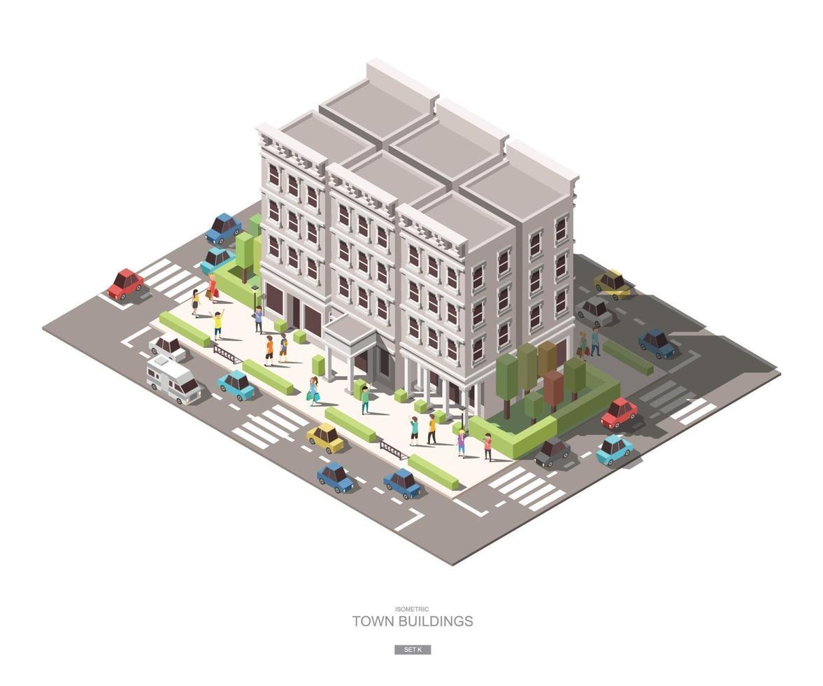 isometriska stadsbyggnader med folkbil och trädvektor ikonuppsättning k vektor