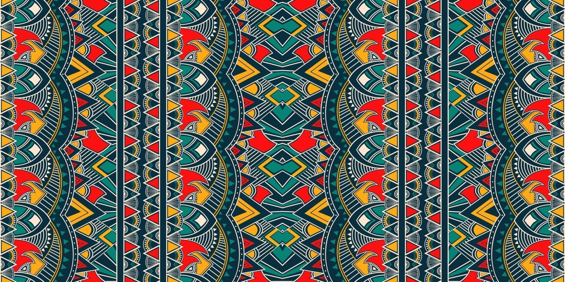 ikat geometrisk folkloreprydnad. stam etnisk vektor konsistens. sömlöst randigt mönster i aztec stil. figur stam broderi. indiskt, skandinaviskt, zigenare, mexikanskt, folkmönster.
