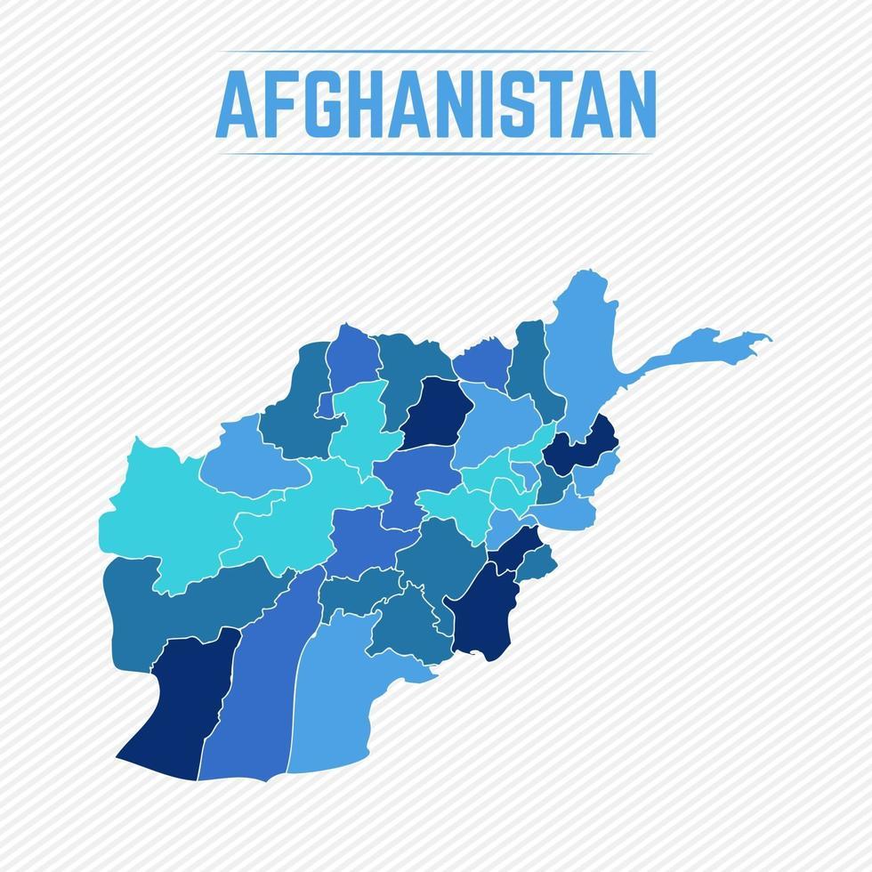 afghanistan detaljerad karta med regioner vektor