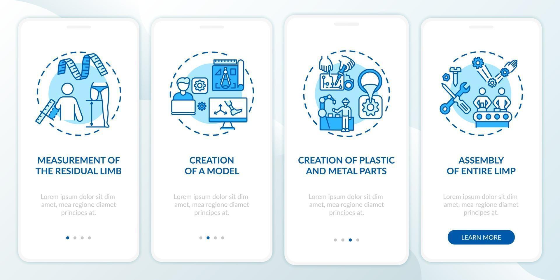 Prothetik Herstellung Onboarding Mobile App Seite Bildschirm mit Konzepten vektor