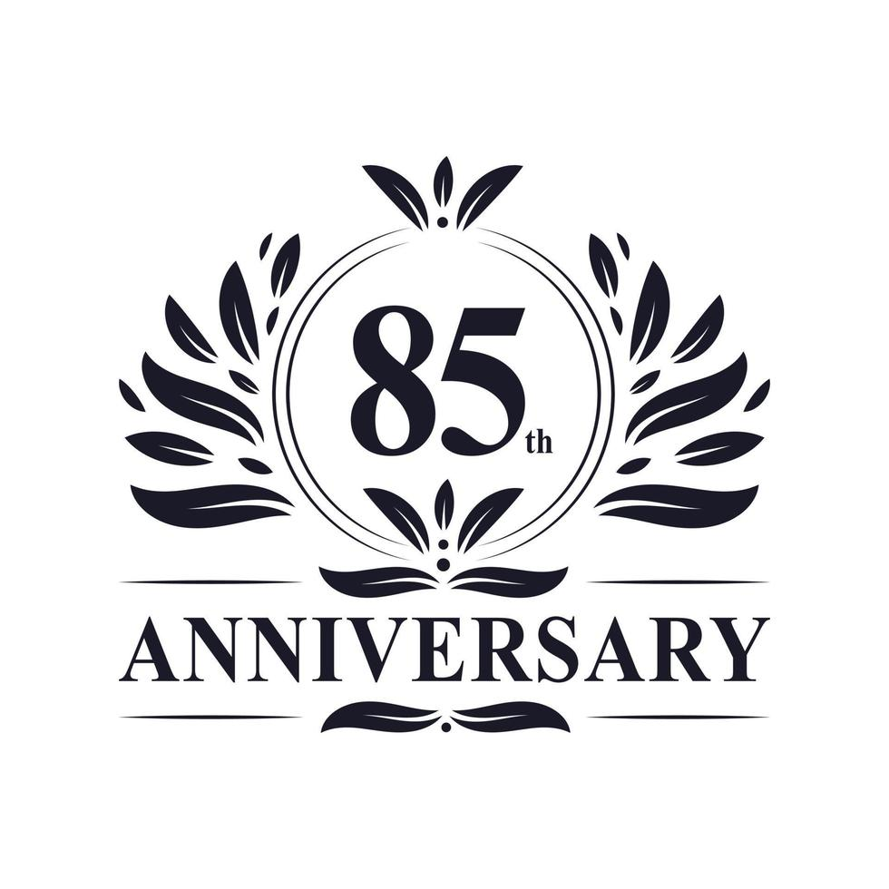 85-årsjubileum, lyxig 85-årsjubileumsdesign. vektor